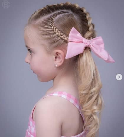 Angled Braid On Top And Side With Ponytail