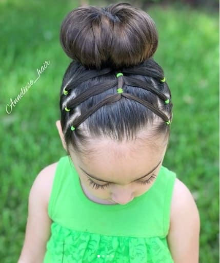 Braided Hairstyle With Top Bun