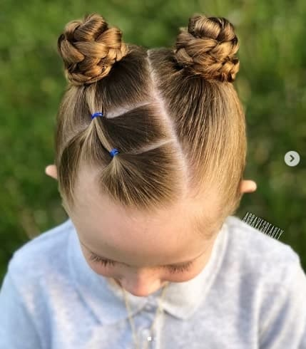 Braided Pigtails With Angled Part