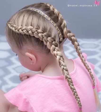 Braided Pigtails With Centre Parted Hair