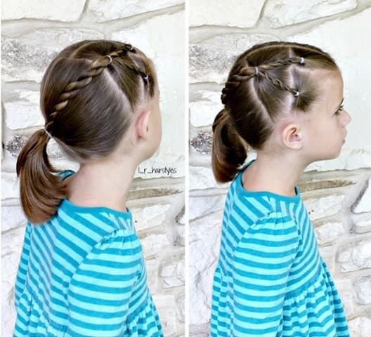 Centre Parted Combed Back Hairstyle With Braid