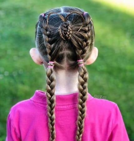 Centre Parted Hairstyle With Braided Back
