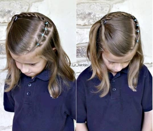 L-Shaped Braid With A Side Swept Ponytail
