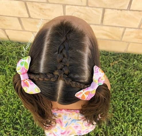 Pigtails With A Centre Braid