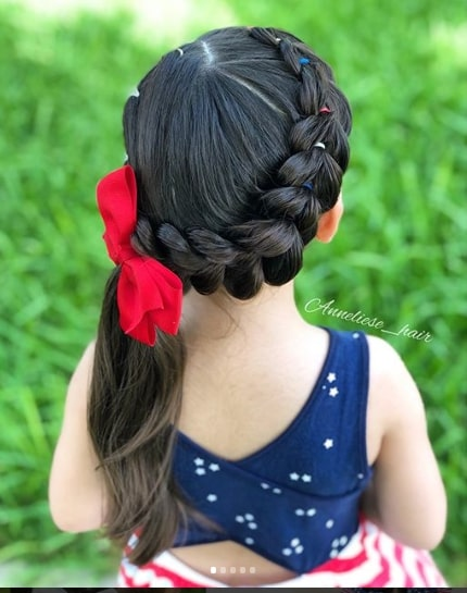 Thick Braided Hairstyle With Ribbon Accessory