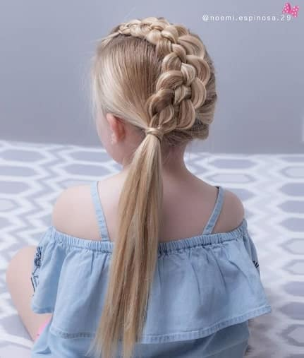 Thick Centre Braid With A Cool Ponytail