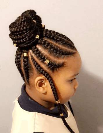 Thick Cornrows With Top Bun