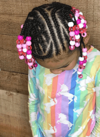Cornrows With Design And Colorful Beads
