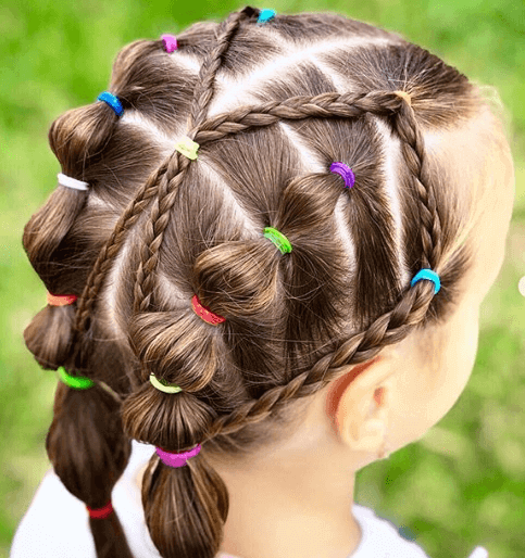 Center Parted Hairstyle With Cross Braids And Sectioned Ponytails