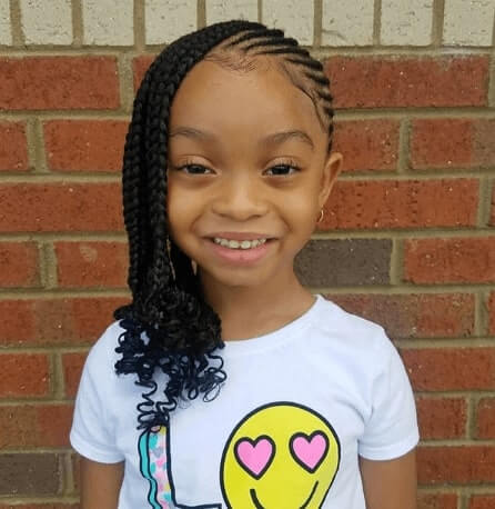Angled Cornrows With Long Braided Strands