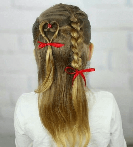Open Back Hairstyle With Braided Ponytail And Heart Design
