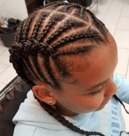Center Parted Cornrows With Pigtails