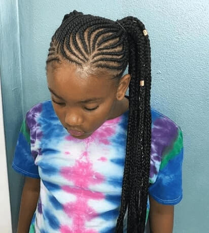 Cornrows With Raised Side Ponytail