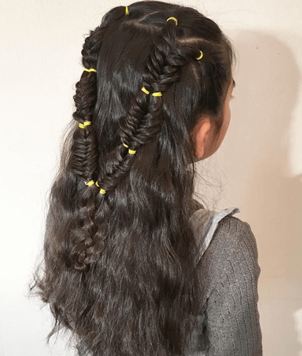 Combed Back Hairstyle With Twisted Double Braids