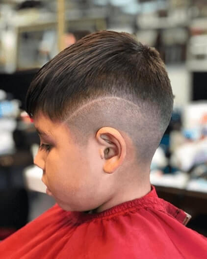Forward Swept Hairstyle With High Fade And Design