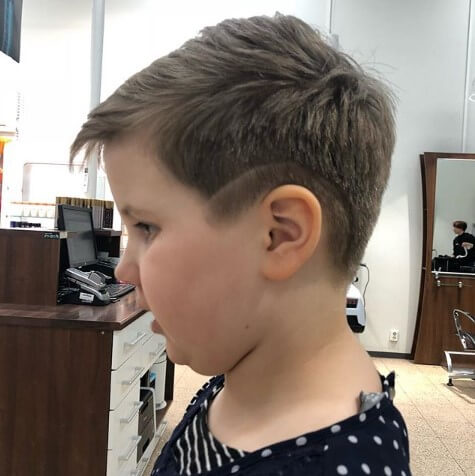 Casual Side Swept Hairstyle With Low Fade And Design-mrkidshaircuts.com