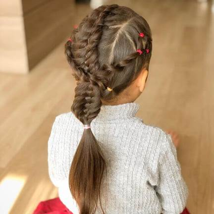 Side Parted Hairstyle With Thick Braids And Ponytail