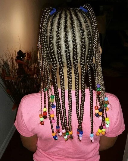 Straight Cornrows With Long Braided Pigtails