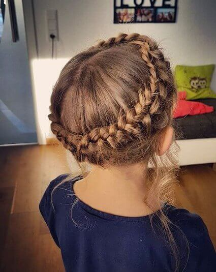Center Parted Hairstyle With Braided Crown
