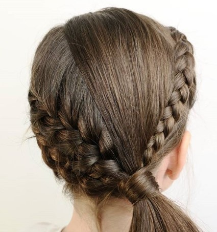 10. Braided Crown With Side Ponytail