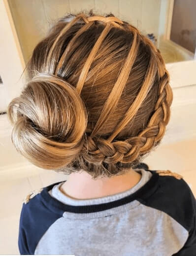 Side Braided Hairstyle With A Side Bun