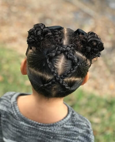 Center Parted Hairstyle With Braided Pattern