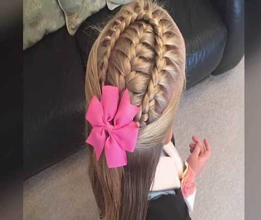 Braided Design With Combed Back Hair