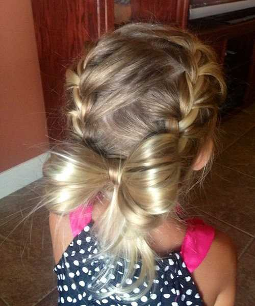 Braided Hairstyle With Low Bow