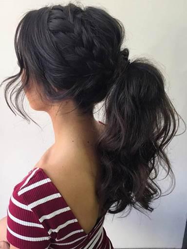 Braided Hairstyle With Messy Ponytail