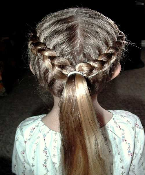Center Parted Hairstyle With Braided Crown And Ponytail