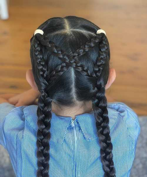 Center Parted Hairstyle With Braided Ponytails