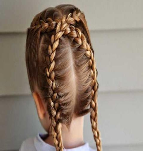 Center Parted Hairstyle With Cross-Braided Look