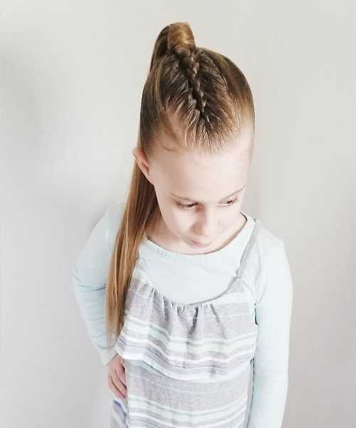 Combed Back Braided Hairstyle With Raised Ponytail