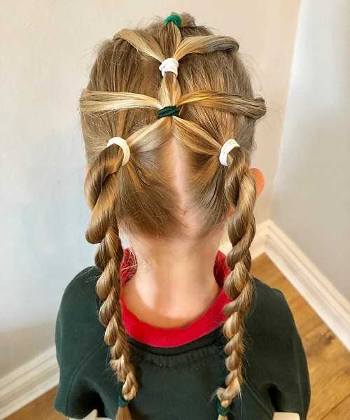 Combed Back Hairstyle With Hair Design And Braided Tails