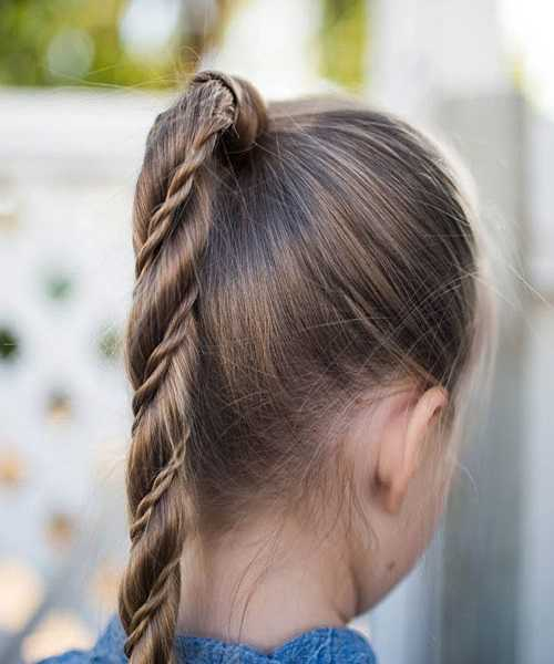 High & Tight With Fine Braid In Ponytail
