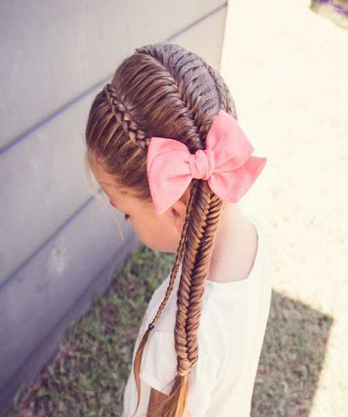 Combed Back Hairstyle With Side Fishtail Braid