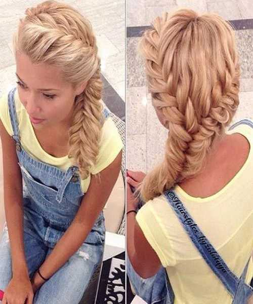 Curls With Side Fishtail Braid