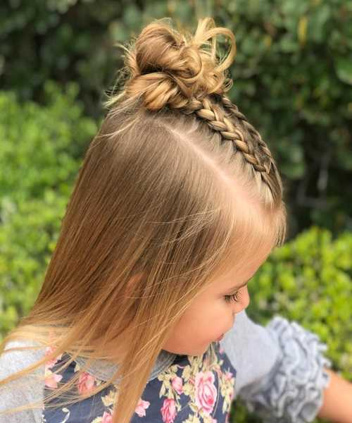 Fine Layered Hair With Braided Top And Messy Hair Bun