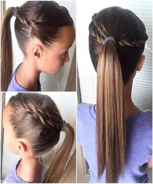 Long Ponytail With Side Braids