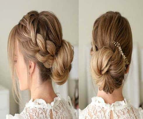 Messy Fishtail Hairstyle With Low Bun