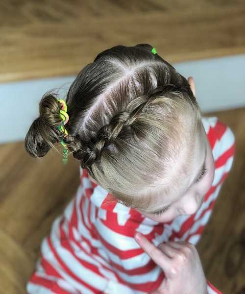 Short Hairstyle With Horizontal Braid And Side Bun