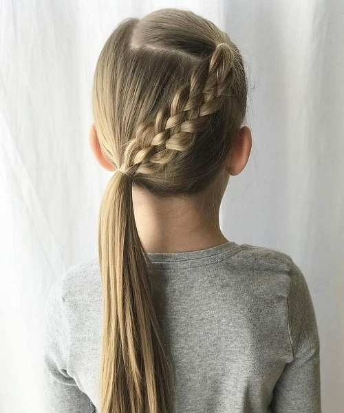 Side Swept Hairstyle With Angled Braid And Ponytail