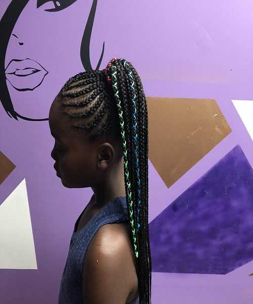 Slightly Angled Cornrows With High Ponytail