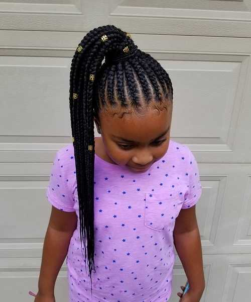 Straight Cornrows With Accessorized High Tail