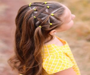 Barrette Pinned Side Parted Hairstyle