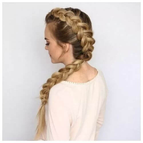 Asymmetrical Chunky Dutch Braided Style