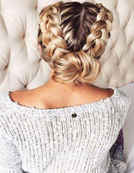 Double Braid With A Low Bun