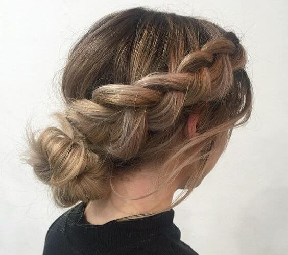 Dutch Braid With Beautiful Low Bun