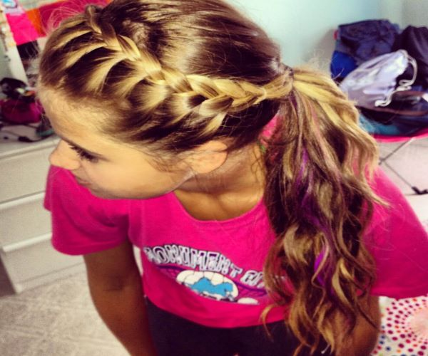 Low French Braided Ponytail
