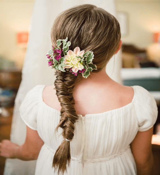 Ponytail With Flower Braid
